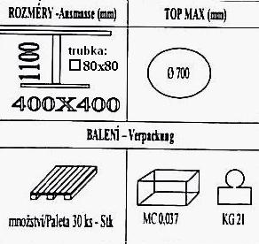Technická data k podnoži BD001/FF