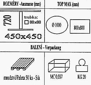 Technická data k podnoži BD002