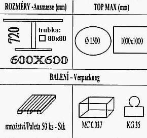 Technická data k podnoži BD003